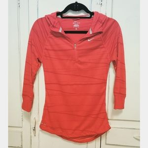 Nike Dry Fit Running 3/4 sleeve Hooded Zip Top